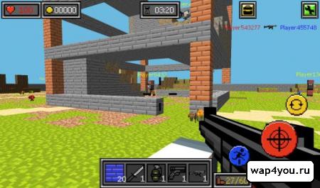 скачать Пиксель Битвы ружья и блоки