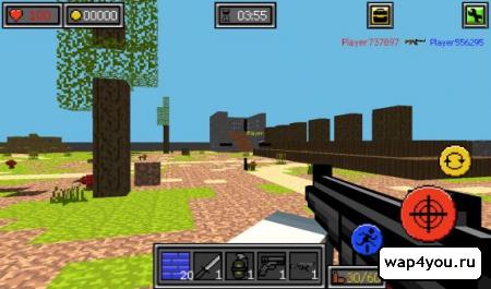 Пиксель Битвы ружья и блоки на Андроид